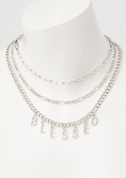 silver blessed layered necklace - Main Image