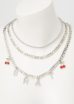 silver brat layered necklace - Main Image