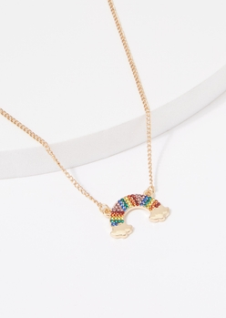 gold rhinestone rainbow charm necklace - Main Image