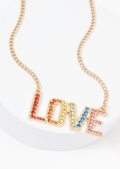 gold rainbow rhinestone love necklace - Main Image