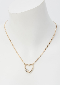gold heart cutout rhinestone chain necklace - Main Image