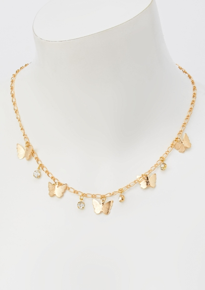 gold chain butterfly rhinestone charm necklace - Main Image