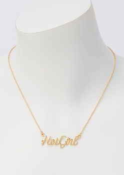 gold hot girl necklace - Main Image