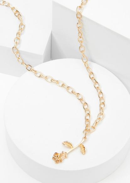 gold rose oval chain necklace - Main Image