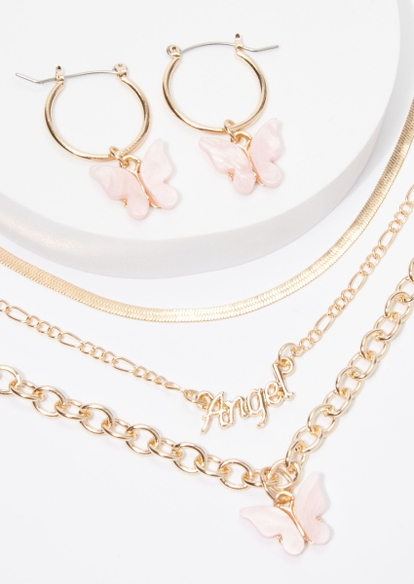 4-pack gold butterfly angel necklace and earring set - Main Image