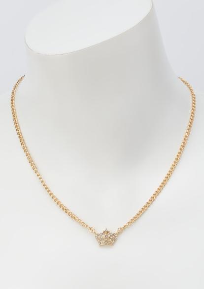 gold rhinestone crown necklace - Main Image
