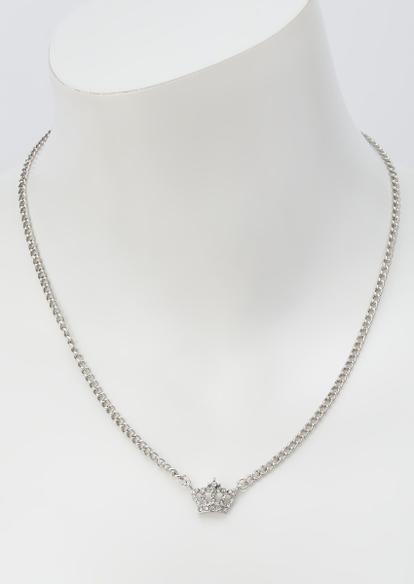 silver rhinestone crown necklace - Main Image
