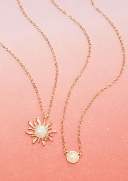 2-pack gold opal moon sun necklace set - Main Image