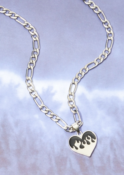silver flame heart charm chunky chain necklace - Main Image