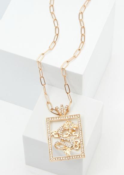 gold rhinestone dragon necklace - Main Image