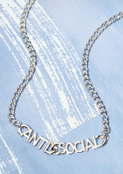 silver antisocial chunky chain necklace - Main Image