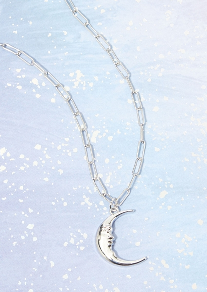 siiver moon face charm chain necklace - Main Image