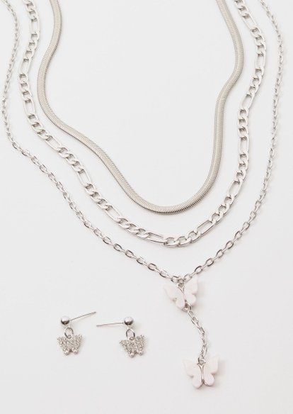 4-pack silver butterfly layer necklace set - Main Image