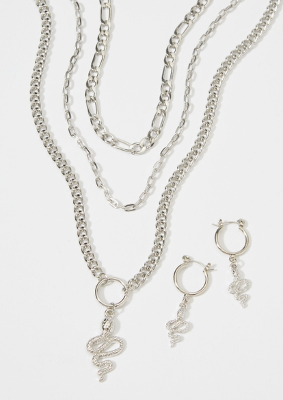 4-pack silver serpent layer necklace set - Main Image