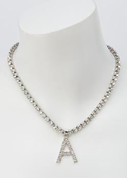 silver rhinestone a initial charm necklace - Main Image