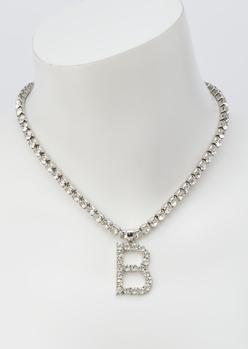 silver rhinestone b initial charm necklace - Main Image