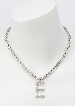 silver rhinestone e initial charm necklace - Main Image