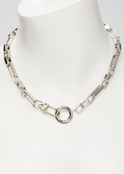 silver carabiner chain necklace - Main Image