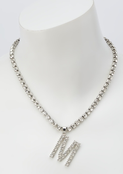 silver rhinestone m initial charm necklace - Main Image