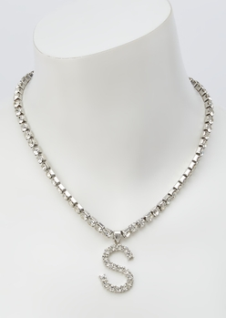 silver rhinestone s initial charm necklace - Main Image