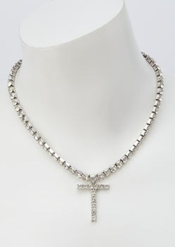 silver rhinestone t initial charm necklace - Main Image
