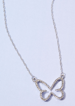 silver butterfly outline rhinestone charm necklace - Main Image
