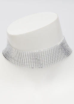 silver metal mesh choker necklace - Main Image