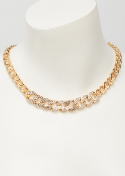 gold rhinestone chunky chain necklace - Main Image