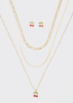 cherry enamel layered necklace and earring set - Main Image