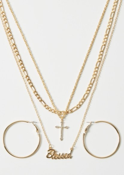 gold blessed layered necklace and earring set - Main Image