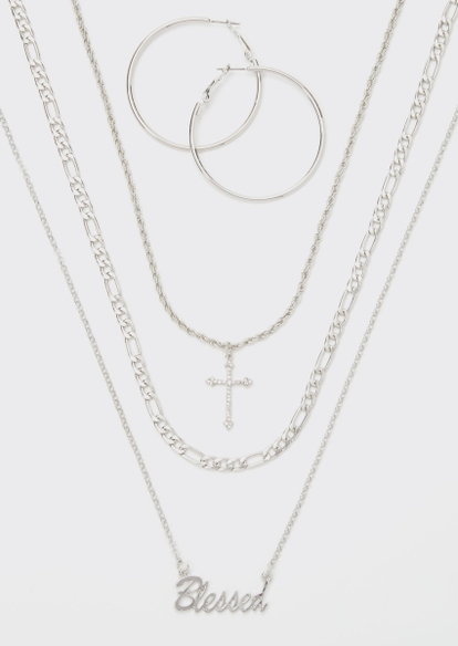 silver blessed layered necklace and earring set - Main Image