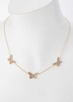 gold triple rhinestone butterfly necklace - Main Image