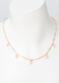 gold link pink butterfly chain necklace - Main Image