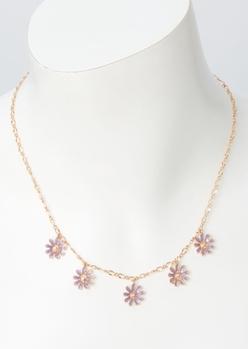 gold link purple flower charm necklace - Main Image