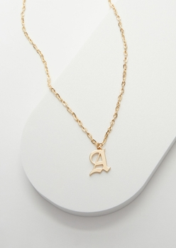 gold gothic a initial necklace - Main Image