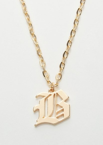 gold gothic b initial necklace - Main Image