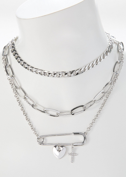 silver safety pin layered necklace - Main Image