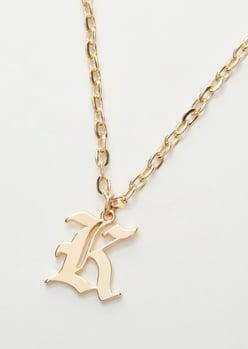gold gothic k initial necklace - Main Image