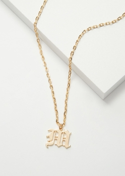 gold gothic m initial necklace - Main Image