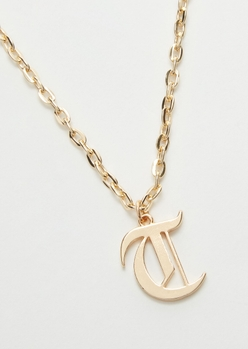 gold gothic t initial necklace - Main Image