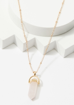 gold pink crystal point charm necklace - Main Image
