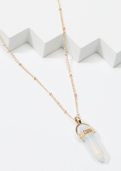 gold opal point crystal charm necklace - Main Image