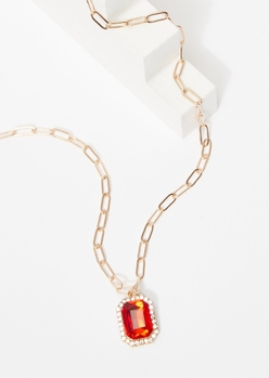 ruby charm chain necklace - Main Image