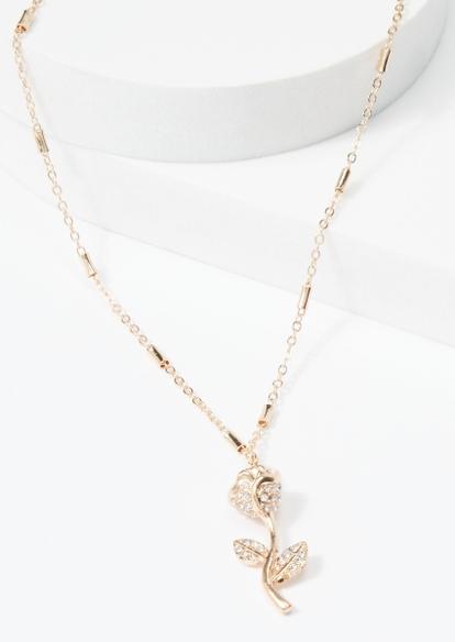 gold rhinestone rose charm necklace - Main Image