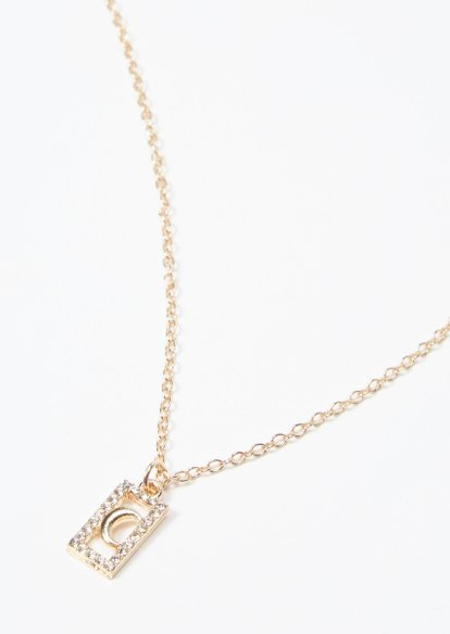 gold rhinestone moon box necklace - Main Image