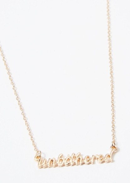 gold unbothered scripted necklace - Main Image