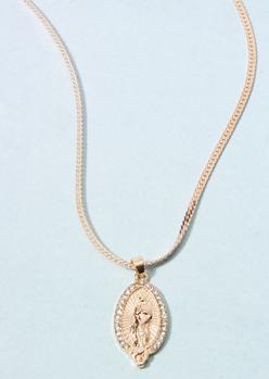 gold oversized saint oval charm necklace - Main Image