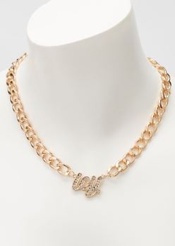 gold icy rhinestone chain necklace - Main Image