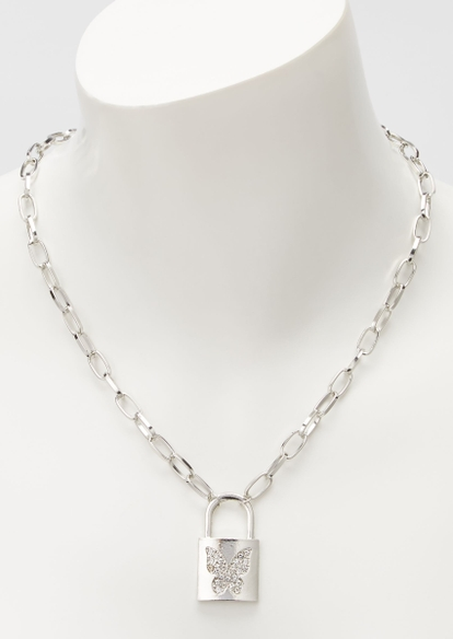 silver butterfly lock chain necklace - Main Image