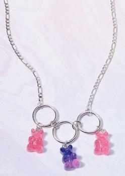 silver glittery gummy bear charm necklace - Main Image